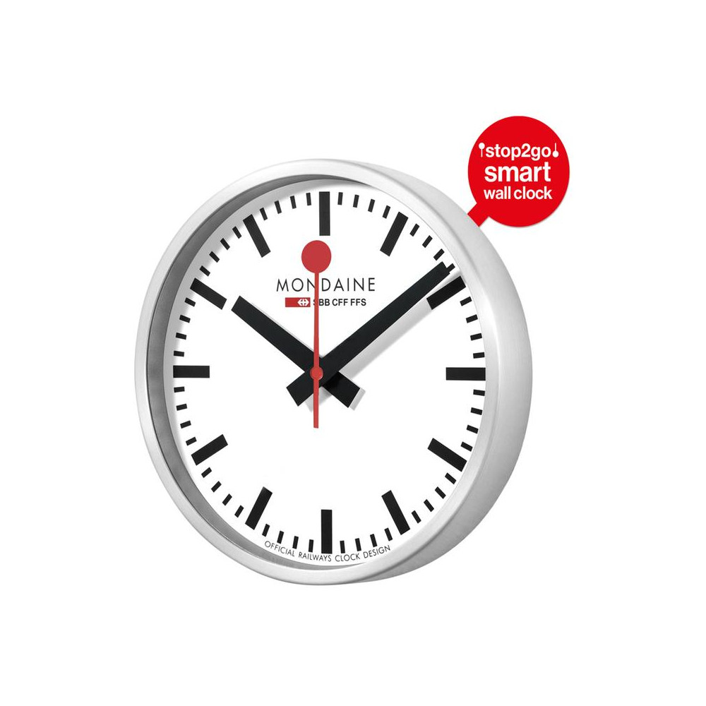 Diameter 25cm MONDAINE A990.CLOCK.11SBC Wall Clock Swiss Railway  Red//White